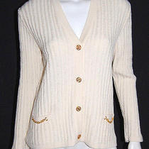 Celine Vintage Ivory Wool Cable Knit Cardigan Sweater 44 Photo
