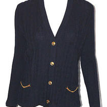 Celine Vintage Navy Blue Wool Cable Knit Cardigan Sweater 42 Photo