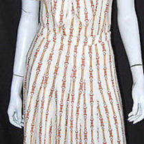 Celine Vintage White & Brown Belt Print Knit Outfit Set 42 Photo