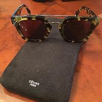 Celine Women Green Tiger Eye Gold Trim Sunglasses Photo