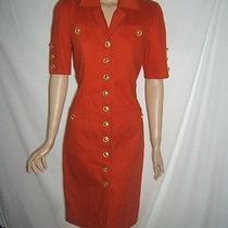 Celine Womens 6 8 Orange Red Cotton Designer Vintage Dress Gold French Buttons Photo