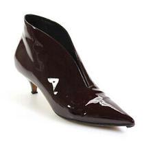 Celine Womens Patent Leather Mid Heel Booties Burgundy Size 39.5 9.5 Photo