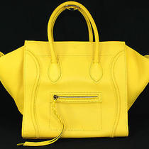 Celine Yellow Drummed Leather Phantom Luggage Tote Bag Photo