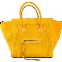Celine Yellow Suede Medium Phantom Tote Bag Photo