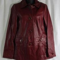 Centigrade Lamb Leather Button Front Fully Lined Barn Jacket Xs Red Photo
