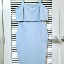 Chambray Flounce Layered Midi Slevless Dress 1xl W/ Anthropologie Earrings Photo