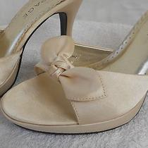 Champagne Cream Satin Mule Shoe Open Toe Bow Pump Kitten Party Wedding Cocktail Photo