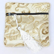 Champagne Jewelry Pocket Money Silk Zipper Bags Pouches T882a03 Photo
