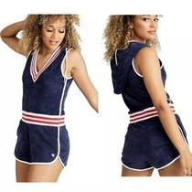 Champion Life Women Xs Blue/red/white Terry Cloth Hooded Romper Swim Coverup Photo