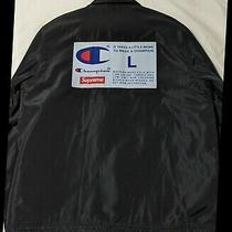 Champion Logo Coaches Jacket Supreme Large Black Fw18 Euc New York Authentic Photo