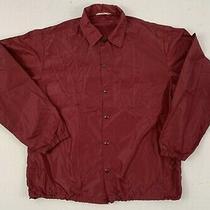 Champion Vintage 60s Nylon Coach Snap Blank Burgundy Windbreaker Jacket Medium Photo