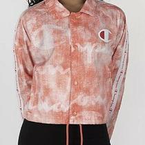 Champion Zipper Tape Orange Multi Logo Coaches Cropped Jacket Womens Size L New Photo