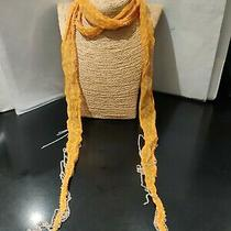 Chan Luu  64 Inch Long Orange Sheer Metal Fringed Scarf   Photo