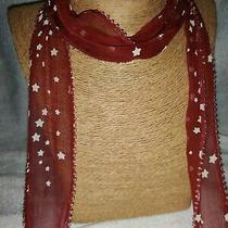 Chan Luu  64 Inch Long Sheer Cranberry Stars Metal Fringed Scarf   Photo