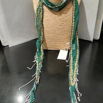 Chan Luu  64 Inch Long Sheer Embroidered Trekking Green  Metal Fringed Scarf   Photo