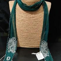 Chan Luu  64inch Long  Green Beaded Sheer  Metal Fringed Scarf   Photo