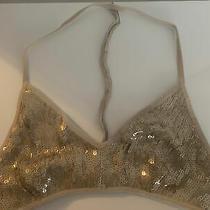 Chan Luu Beige Nude Bra Tank Gold Bralette Sequin Size M Shimmer Beaded Photo