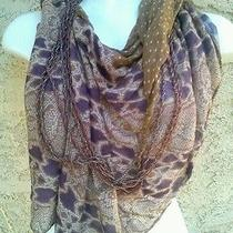 Chan Luu Designer Potent Purple Beaded Unique Scarf / Necklace Mix  22x 67 Rare Photo