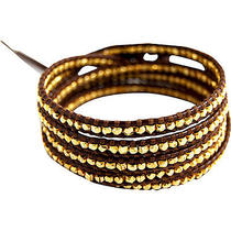 Chan Luu Gold Vermeil Bead Brown Leather Wrap Bracelet Photo