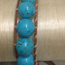 Chan Luu Leather Chunky Turquoise Stone Bracelet Photo