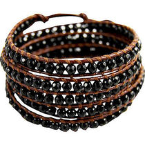 Chan Luu Onyx Stone Brown Leather Wrap Bracelet - Onyx Photo
