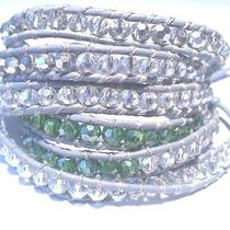 Chan Luu Style 5 Wrap Bracelet Gray Leather Green and Clear Swarovski Crystals Photo