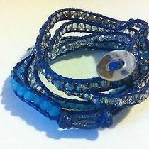 Chan Luu Style Wrap Fashion Bracelet Shades of Blue Swarovski Quartz Silver 925 Photo