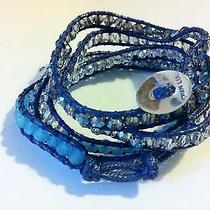 Chan Luu Wrap Bracelet Blue With Swarovski Beads Ab Crystal 925 Sterling Silver Photo