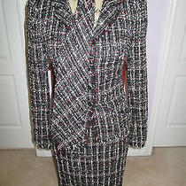 Chanel 05p Black & Red 3pc Jacket Skirt Tie Suit Nwot Photo