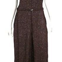 Chanel 08p Purple Metallic Tweed Logo Button Wide Leg Jumpsuit 46 Photo