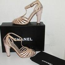 Chanel 09c Architectural Heel Cage Peep Toe Pump Blush Pink 37 - 6.5 Photo