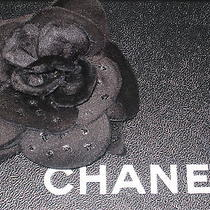 Chanel 1   Auth Black Flower Brooch Pin Camellia 3 1/2'' Glitter Photo