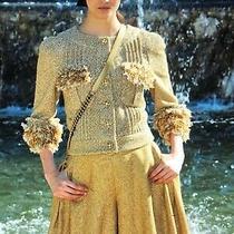 Chanel 13c New Tweed Lesage Beige Gold Skirt Gold Cc Incrustation  Fr40-384k Photo