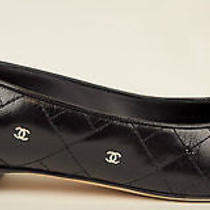 Chanel 14p Black Quilted Leather Cap Toe Cc Logo Ballet Flats eu37.5 Us7 1125 Photo