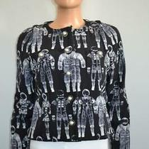 Chanel 17a Black/white Ltd Ed Astronaut Print Silk Jacket Size 38/us 6 5700 Photo