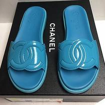 Chanel 17s Turquoise Patent Leather Cc Logo Slides Mules Flats Shoes 37.5 Nib Photo