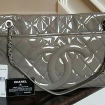 Chanel 2012 Grey Patent Leather Timeless Cc Logo Handbag Tote Quilted Shopper Photo