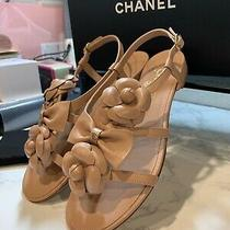 Chanel 2018ss Women Elegant Camellia Leather Nude Sandal Size 40 (9.5 Us) Nwb Photo