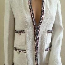 Chanel 20s Iridescent Cc Logo White Tweed Jacket Us42 Us10 7125  Tax Photo