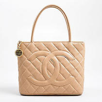 Chanel 2125 Beige Caviar Leather 'Cc' Logo Quilted Medallion Tote Bag Photo