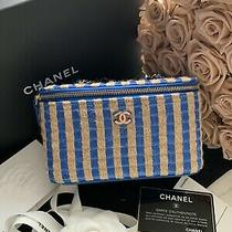 Chanel 21p Blue Beige Raffia Small Vanity With Chain Shoulder Crossbody Bag-Nwt Photo