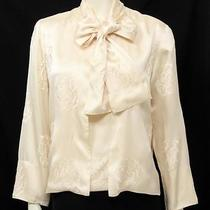 Chanel 3pc Cream Silk Floral Embroidered Shell Jacket & Scarf Set Photo
