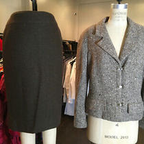 Chanel 46 Brown Tan Wool Boucle Cashmere Skirt Suit Vtg 1999 845-21-1720 Photo