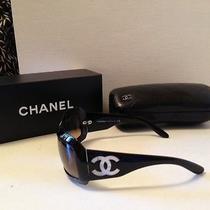 Chanel 5076-H Black Frame Dark Gray Lens Mother of Pearl Cc Logo Sunglasses Case Photo