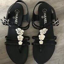 Chanel 795 Camellia Crumpled Sandals T-Strap Leather Black 39 1/2 Us 9 Italy  Photo