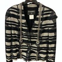 Chanel 8600 08p 2008 Chains Pearl Jacket Black Ivory Stripes 38 40 42 Strass Photo