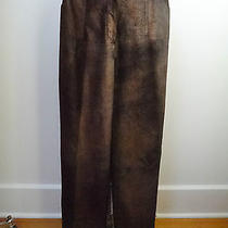 Chanel 99a Copper Black Suede Leather Wide Leg Pants French Size 38 Photo