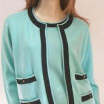 Chanel Aqua & Black 100% Cashmere Twin Set Sweatersspr '9544/8-10ss & Cardi Photo