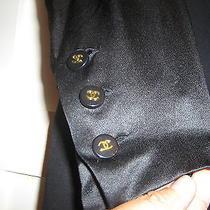 Chanel Auth 94a Runway Classic Elegant 60's Blk Satin Silk Coco Chanel Dress 42 Photo