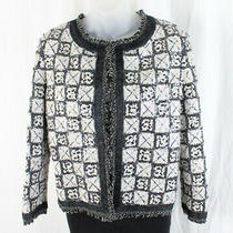 Chanel Auth Black White Sequined Fringed Jacket Blazer Sz 38 6 Photo